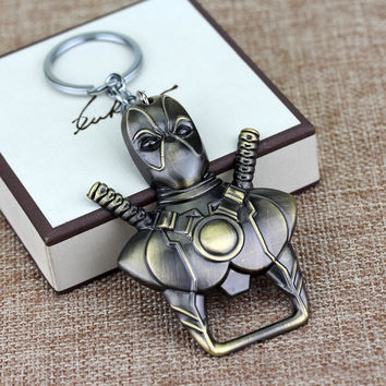 2 Colors Newest Anime Cartoon X-men Deadpool Bottle opener Key chain Pendant Keychain Chaveiro Metal Alloy Key Ring for souvenir