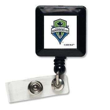 """Licensed Seattle Sounders Approx. 1"""" x 1"""" Retractable Badge Holder Key Chain Seattle FC KO_19_1"""