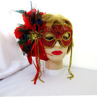 Ladies Red Feathered Masquarade Mask Glam With Dangle Beads Halloween Peacock Feathers Sequines Item 2426