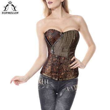 TOPMELON Retro Corset Bustier Steampunk Gothic Women Corselet Sexy Strapless Floral Striped Rivet Newest Tops 6XL Plus Size