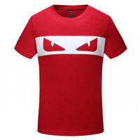 Fendi Summer Fashion New Bust Eye Print Women Men Top T-Shirt Red