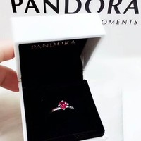 Pandora New fashion red gem retro ring women Silver
