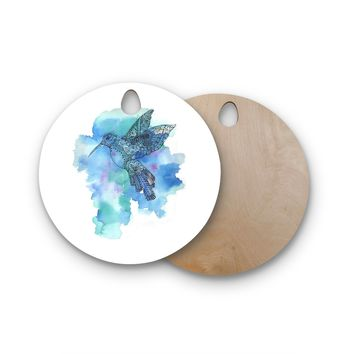 "Sonal Nathwani ""Hummingbird"" Blue Watercolor Round Wooden Cutting Board"