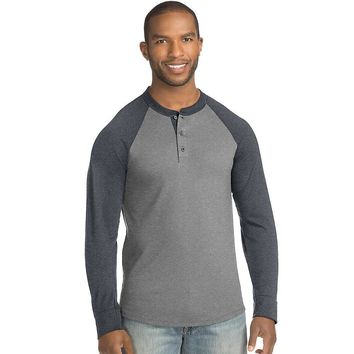 Hanes Men's FreshIQ X-Temp Colorblock Long-Sleeve Raglan Henley Tee Style: 5A60-Mid Charcoal Heather/Slate Harmony S