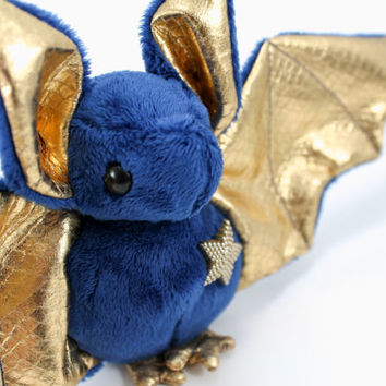 Bat Stuffed Animal in Royal Blue and Gold, Cute Bat Plush Toy