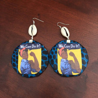 African American Rosie the Riveter Ankara Dutch Wax Print Kitenge Fabric Statement Feminist feminism blue and black Cowrie Shell earrings