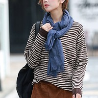 Women's Brown Striped Cotton Sweater Tops Casual Loose Fitting One Size