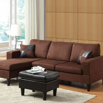 2 pc Robyn collection chocolate microfiber upholstered sectional sofa with reversible chaise with squared arms and free ottoman