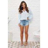 Everything About You Distressed Top (Light Denim)