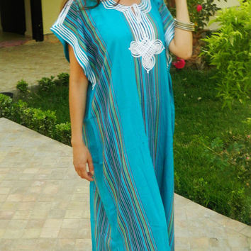 Caftan Kaftan Bedoin Style- Turquoise-Perfect as Mothers day gift, loungewear, as beachwear,beach cover ups, gift for moms and to be moms