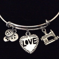 Crochet Diva and Yarn Charm Silver Charm Bracelet Expandable Adjustable Wire Bangle Trendy Stacking Gift Inspired Handmade Knitting