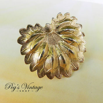 Vintage Gold Tone Scarf Ring - Large Leaf Shape - Scarf Slide/Costume Jewelry