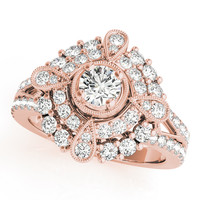 European Engagement Ring - Diamond Compass Double Halo Ring In Rose Gold - ER337RG
