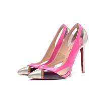 CL Christian Louboutin Women Trending Leather Black High Heel flat Shoes boots Best Quality pink