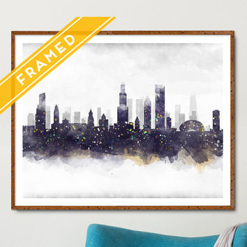 Chicago Cityscape Poster FRAMED Anniversary Gift - Skyline Watercolor - Art Print Poster Framed - Ready to Hang Chicago Poster