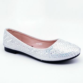 Women's Silver Flats with Rhinestones