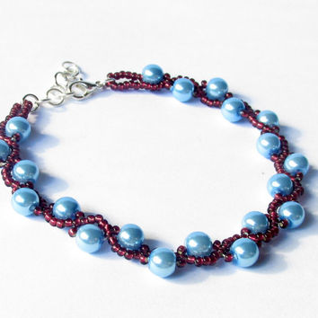 Beadwoven Bracelet, Beaded Bracelet, Burgandy and Blue Bracelet, Prom Accessory, Prom 2015, Seed Bead Bracelet, Mother of the Bride Jewelry
