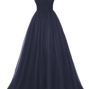 US Women's Long Tulle Prom Dress Beaded Off Shoulder Evening Gown Formal Dress