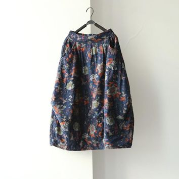 Women New Winter(Thick) summer(Thin) Elastic Pockets Skirts Flower Print Butterfly loose Casual Chinese style Skirts Floral