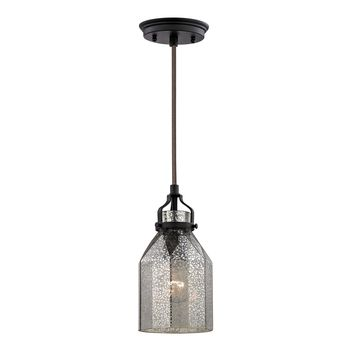 46009/1 Danica 1 Light Pendant In Oil Rubbed Bronze And Mercury Glass - Free Shipping!