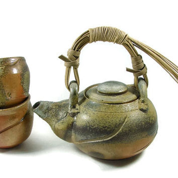 Wood Fired Pottery Teapot Set w Cane Handle / Handmade Ceramic Wheel Thrown  Porcelain Stoneware Clay Teapot and Tea cups / Ready to Ship