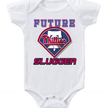 New Cute Funny Baby One Piece Bodysuit Baseball Future Slugger MLB Philadelphia Phillies #3