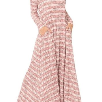 Purplish Red White Striped Pocket Maxi Dress