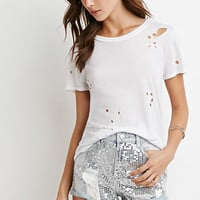 Distressed Sequin Denim Shorts
