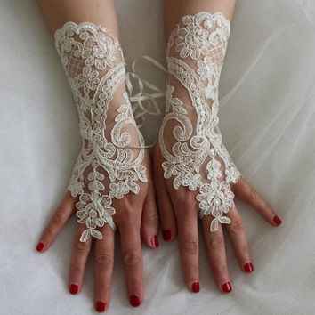 french lace, ivory,extra- long, wedding gloves, bridal acceessories gloves,bridal gloves, free shipping!