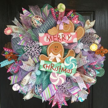 Gingerbread mesh wreath,Whimsical Christmas Wreath,Gingerbread decor,Candyland wreath,Christmas  wreath,Christmas Candyland wreath