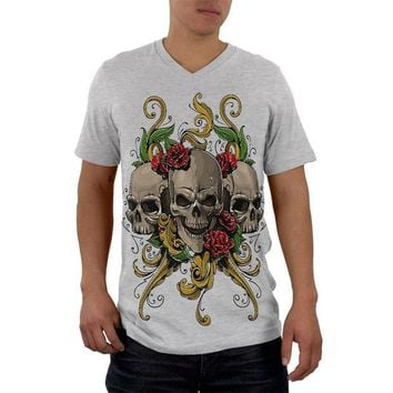 DCCKIS3 Skulls and Roses Tattoo Mens Soft V-Neck T Shirt