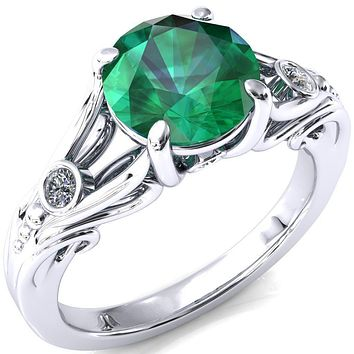Aerolynn Round Emerald 4 Prong Diamond Accent Engagement Ring