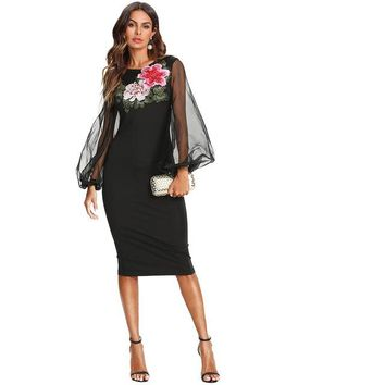 RWL BOUTIQUE Flower Embroidery Sheer Lantern Sleeve Dress Black Round Neck High Waist Long Sleeve Women Elegant Bodycon Party Dress