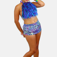 Monster Fur halter top / mini skirt / exotic wear / sexy top / EDC outfit