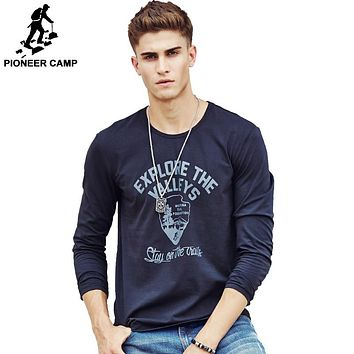 T shirt fashion  clothing Men's Long Sleeve T Shirt Cotton Elastic Casual T-Shirt Male