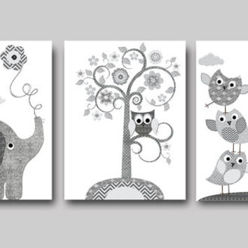 Grey Elephant Giraffe Decor Canvas Wall Art Baby Boy Nursery Canvas Print Baby Room Decor Elephant Nursery Decor Giraffe Nursery set of 3