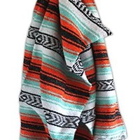 Del Mex (TM) Mint Seafoam and Orange Mexican Beach Blanket Vintage Style (Calexico)