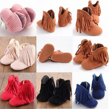 Toddler Infant Moccasin Newborn Baby Girl Shoes Soft Sole Booties Prewalker Cute Tassel First Walker
