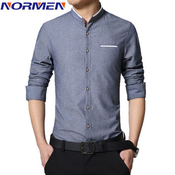 Long Sleeve Banded Collar Collarless Shirts Slim Fit