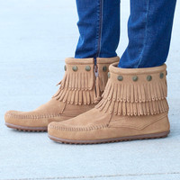 Minnetonka: Double Fringe Side Zip Bootie {Taupe}