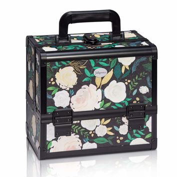 Joligrace Makeup Train Case Cosmetic Organizer Box Lockable with 3 Trays and a Brush Holder Pattern Collection (Green Flower)