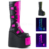 "Slay 310 Black With Color Panels 7"" Platform Cyber Knee Boots 6-12"