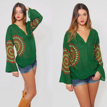 Vintage 90s ETHNIC Top BELL SLEEVE Green Dashiki Indian Floral Print Hippie Top Boho Tunic