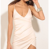 Party dresses > Ruched Asymmetric Dress In Light Pink