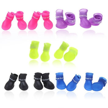 Pet Dog Shoes Boots Candy Colors Waterproof Rubber Rain Shoes H10331 = 1958312068