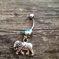 Elephant  belly button jewelry, bellybutton ring, Body jewelry.