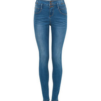 32in Blue High Waisted Skinny Jeans