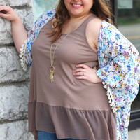 Ruffled Up Layering Tank in Mocha {Curvy}