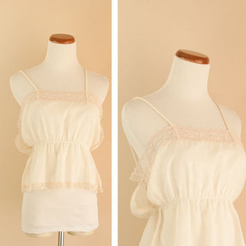 Vintage 70s light cream and lace tank by pistolpoppy on Etsy