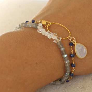 Lapis Lazuli and Moonstone Rosary Bracelet.  Moonstone and Lapis Minimalist Bracelet. Gold Wire Wrapped Gemstone Bracelet